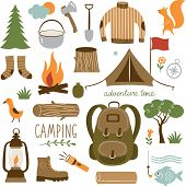 stock photo of tent  - Set of camping equipment icon set - JPG