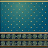 picture of rangoli  - Traditional blue and golden saree background design - JPG