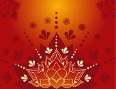 foto of henna tattoo  - Colorful traditional Indian lotus henna tattoo background design - JPG