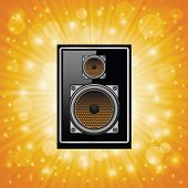 pic of subwoofer  - colorful illustration with subwoofer on abstract sun background for your design - JPG