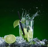 pic of mojito  - Fresh mojito cocktail in freeze motion splashing - JPG