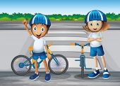 pic of playmates  - Illustration of a girl and a boy with their bikes standing near the pedestrian lane - JPG