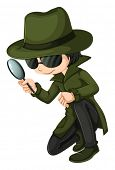 picture of headgear  - Illustration of a smart young detective on a white background - JPG