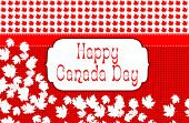 image of canada maple leaf  - Happy Canada Day greeting text on red and white maple leaf with for wallpaper or greeting card - JPG