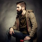 pic of single man  - Portrait of handsome man with beard - JPG