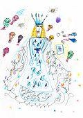 image of parachute  - children drawing  - JPG