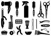 stock photo of hairspray  - Tools and materials for a hairstyle and colouring of hair - JPG