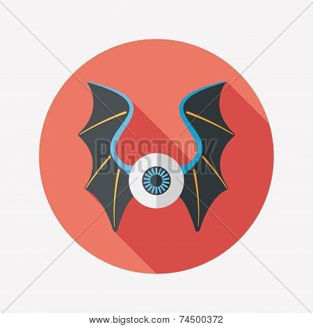 Eye With Bat Wings Flat Icon With Long Shadow