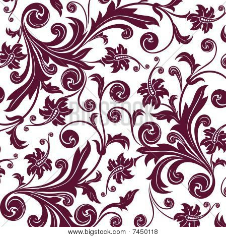 Brown Flower Seamless Pattern