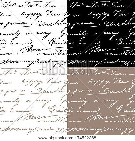 Set Of Samless Patterns With Handwriting Text. Calligraphy Text Background.