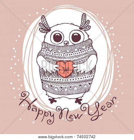 Hand drawn vector illustration with cute eagle owl. Happy New Year card