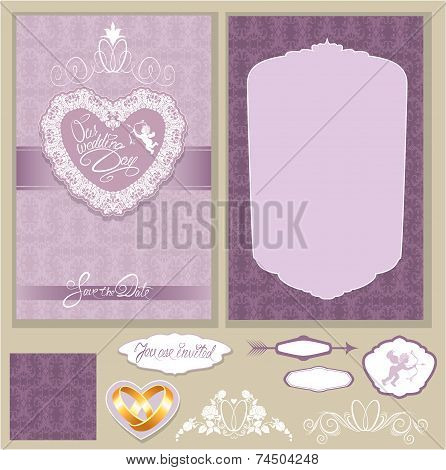Set Of Wedding Invitation Cards With Floral Elements, Wedding Rings, Background Ornamental Patterns,