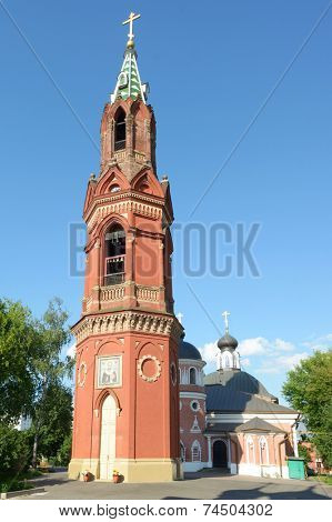 Transfiguration candle, the belfry of St. Nicholas rite monastery in Moscow, Russia. Built in 1879, this 40 meters tall bell tower was one of the tallest building of Preobrazhensky settlement