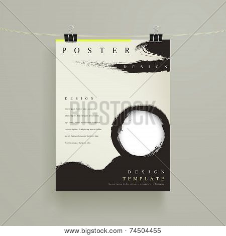 Chinese Calligraphy Style Business Poster Template