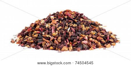 Macro Of Rose Hip Tea Loose Leaf Granules In A Pile On White Background