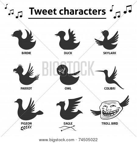 Tweet birds social media internet icons