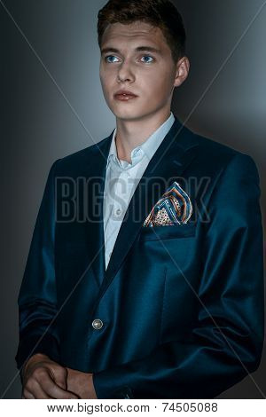 Male Model In Suit With Hugo Effect