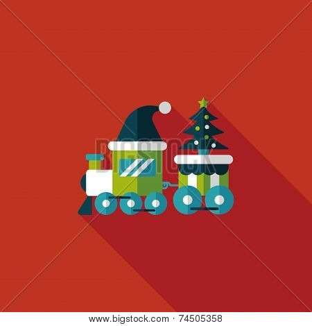 Christmas Train Toy Flat Icon With Long Shadow,