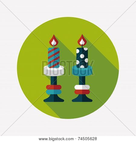 Christmas Candle Flat Icon With Long Shadow,