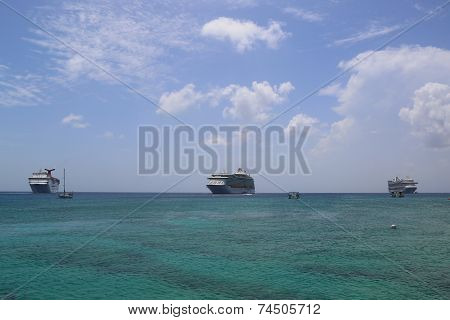 Three Cruise Ships anchors at the Port of George Town, Grand Cayman