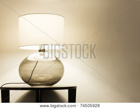 Interior of modern house, detail living room, table lamp