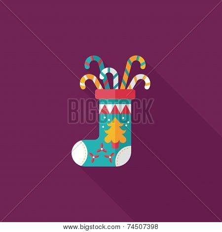 Christmas Stocking Flat Icon With Long Shadow,eps10