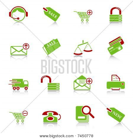 Sale and shopping icons, green-red series