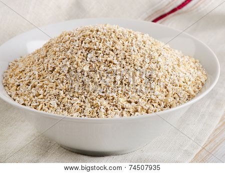 Healthy Oat Bran In A  White Bowl