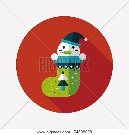 Christmas Stocking Flat Icon With Long Shadow,