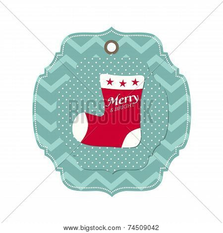 Christmas Card With Santa Claus stocking