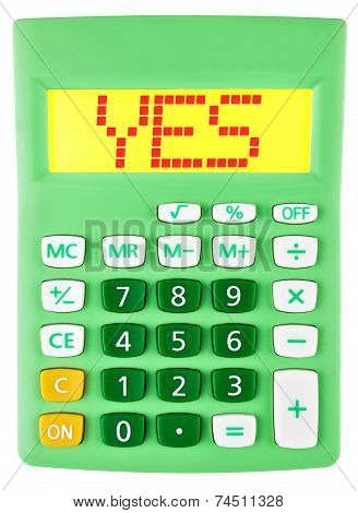 Calculator With Yes On Display On White