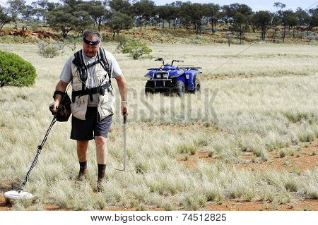 Gold Miner In The Australian Outback Prospecting
