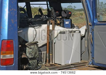 All terrain vehicle equipped and loaded with metal detectors