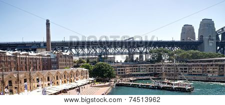 Panoramic View Of The Sydney Harbour Bridge Through Campbell's Cove