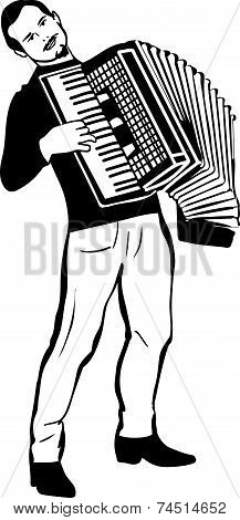 sketch of a man playing the accordion 库存矢量图