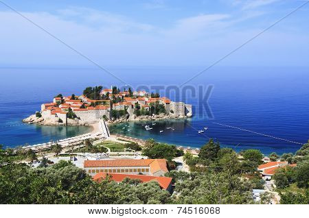 St. Stefan Town In Croatia In Adriatic