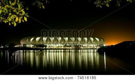 Port Elizabeth Soccer Stadium At Night
