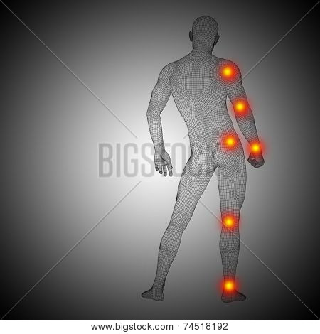 Concept or conceptual 3D human anatomy mesh or wireframe body with joint pain, ache or inflammation for health on black and white gradient background