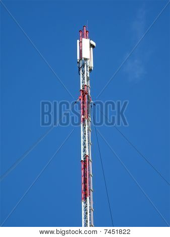 Red Telecommunication Pylone, Blue Sky
