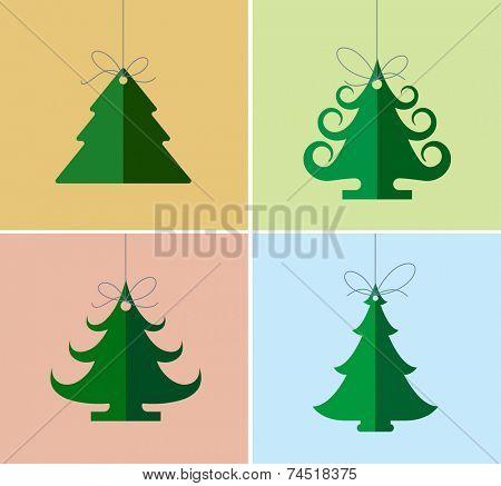 Christmas icons, elements and illustrations. Christmas Greeting Card. Christmas tree.