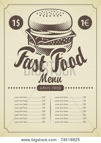 Menu for fast food
