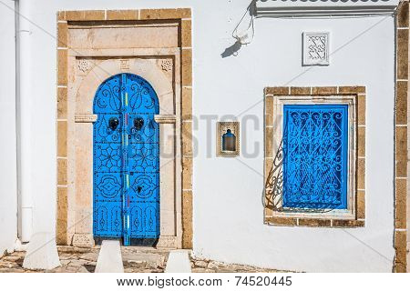 Typical Local Door Of Traditional Home; Tunis; Tunisia