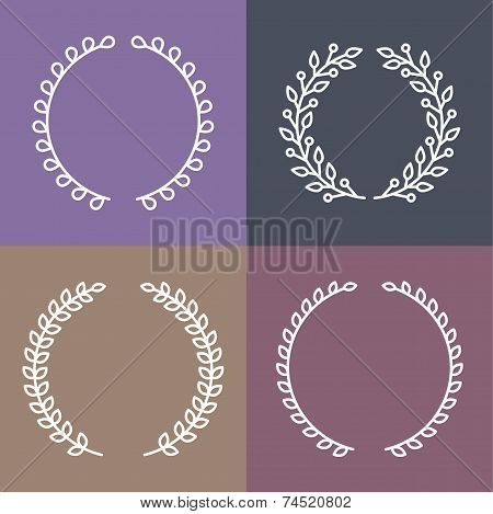 Vector Set Of Laurel Wreaths In Outline Style