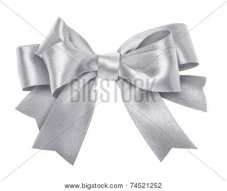 Shiny silver satin ribbon on white background