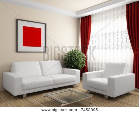 interior with white furniture and red curtain