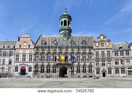 Gothic Style City Hall In Mons, Belgium