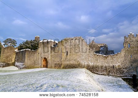 Ruins of Adare castle in winter scenery, Ireland