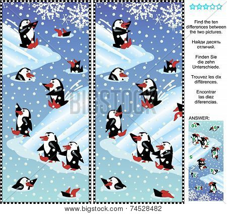 Find the differences visual puzzle - playful penguins