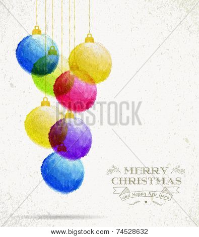 Christmas Colorful Oil Pastel Baubles Card