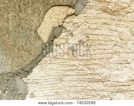 Old Peeled And Cracked Wall, Divided Into Two Sections